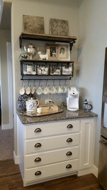 Coffee Bar White Keurig Hobby Lobby Shelf With Hooks And Baskets Electric Kettle Cozy Tea Chest French Press