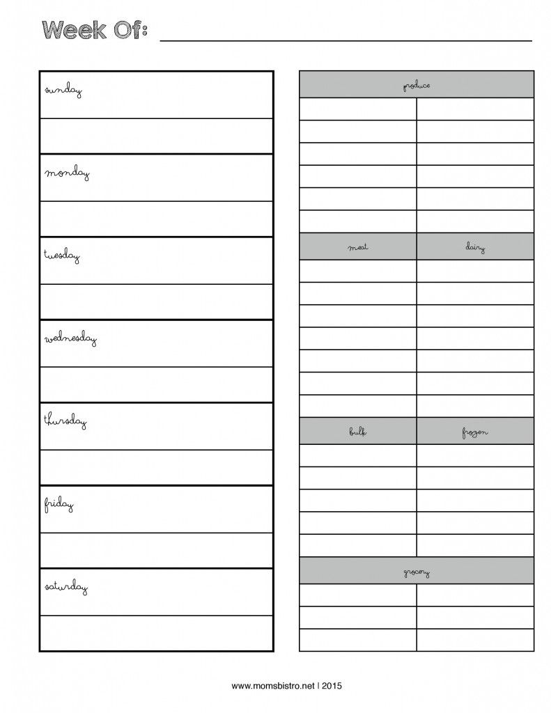 Weekly Menu Planner With Grocery List  New Febrary Page