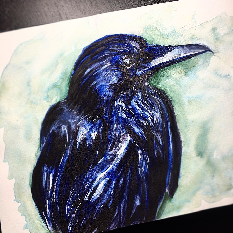 Raven in watercolor, I love how the feather texture ended up. • • • #watercolor #watercolorpainting #watercolour #watercolourpainting #aquarelle #aquarellepainting #watercolorart #watercolourart #art #drawing #sketching #watercolorsketchbook #color #colorful #watercolorsketch #artistsoninstagram #painting #sketch #artistsofinstagram #watercolorpaint #watercolorillustration #animals #animalartists #animalart #animalpainting #raven #crow #birdart #birdpainting #birddrawing