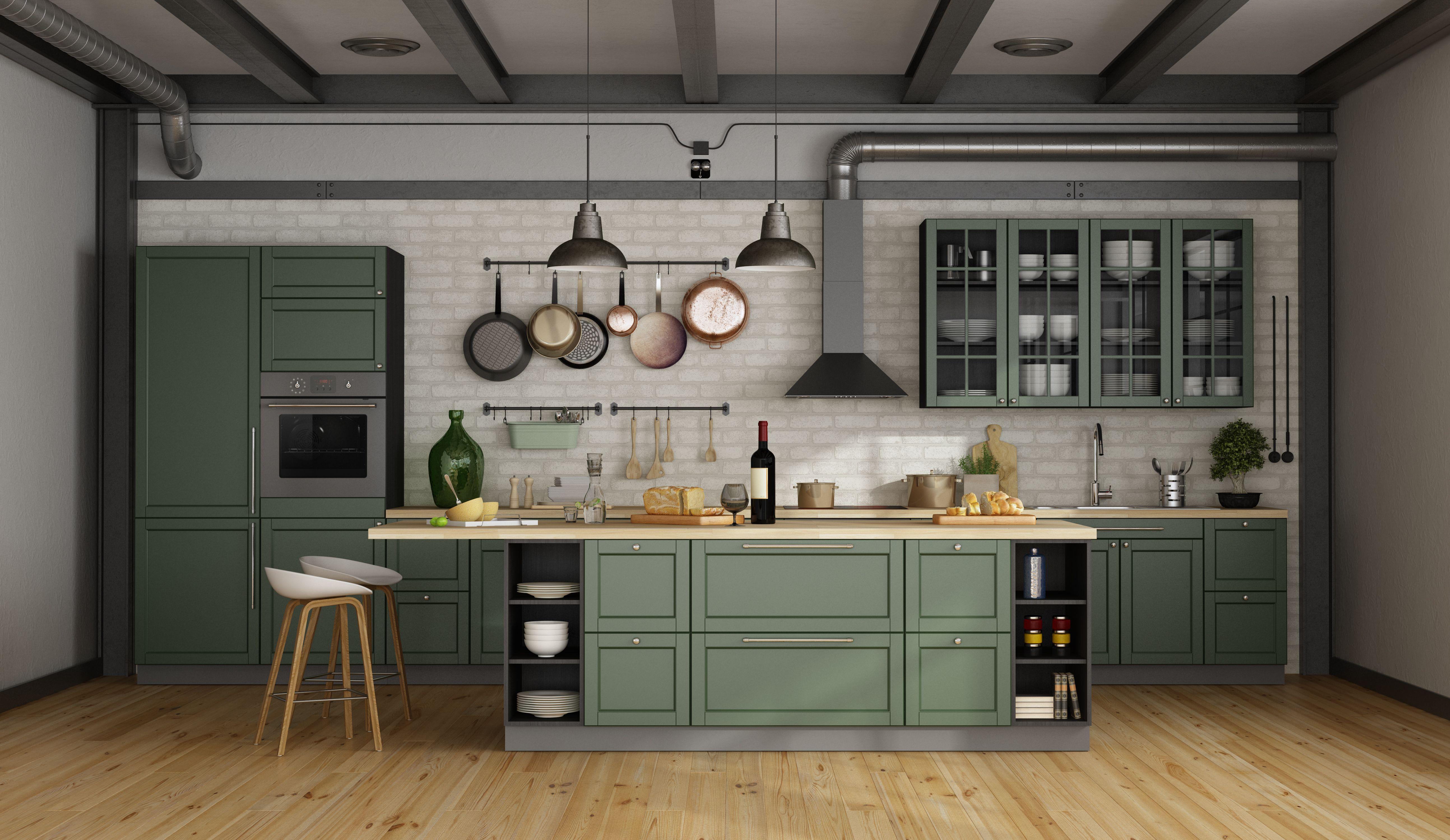 Kuchnia Vintage Green Kitchen Cabinets One Wall Kitchen Green Kitchen