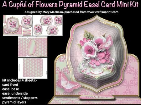 A Cupful of Flowers Pyramid Easel Card Mini Kit on Craftsuprint - View Now!