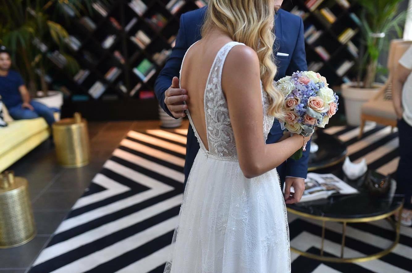 Open back Lace top wedding dress | Mila by FLORA | V neckline
