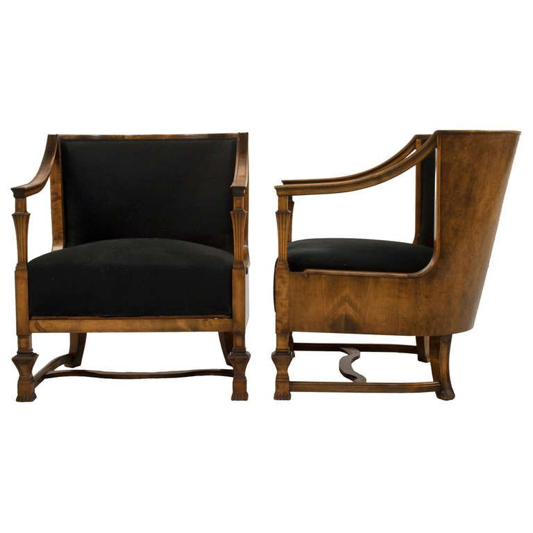 Pair Of Swedish Grace Lounge Chairs 1stdibs Com Chair Upholstered Chairs Vintage Lounge Chair