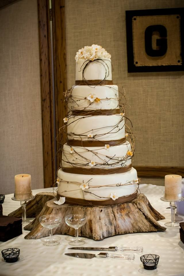 Golds And Browns For This Rustic Twigs And Flowers Wedding Cake.