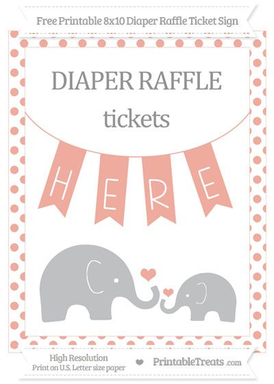 Free Pastel Coral Dotted Elephant X Diaper Raffle Ticket Sign
