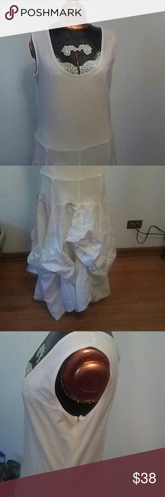 Beautiful white dress Cotton and spandex/  can be worn flare, or bunched. Phod Dresses High Low