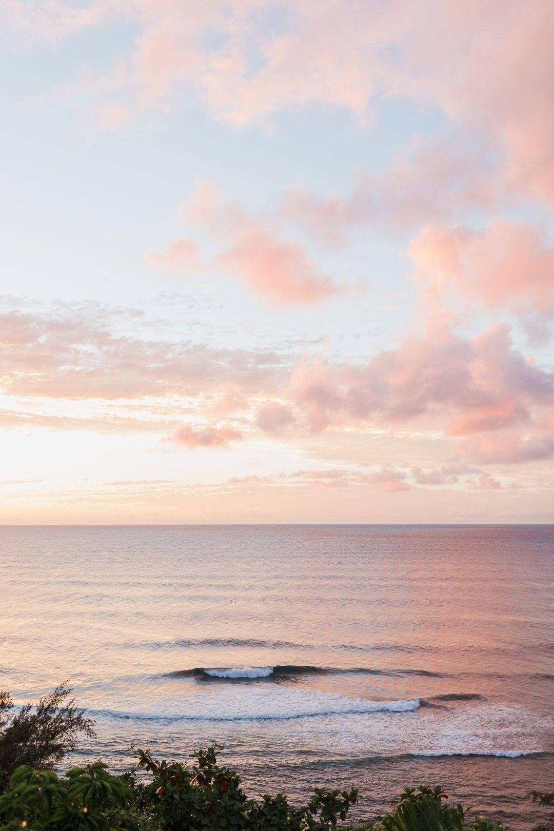 Pacific Ocean Pink Sunset View On Kauai Hawaii Photographers Photo By Sea Light Studios