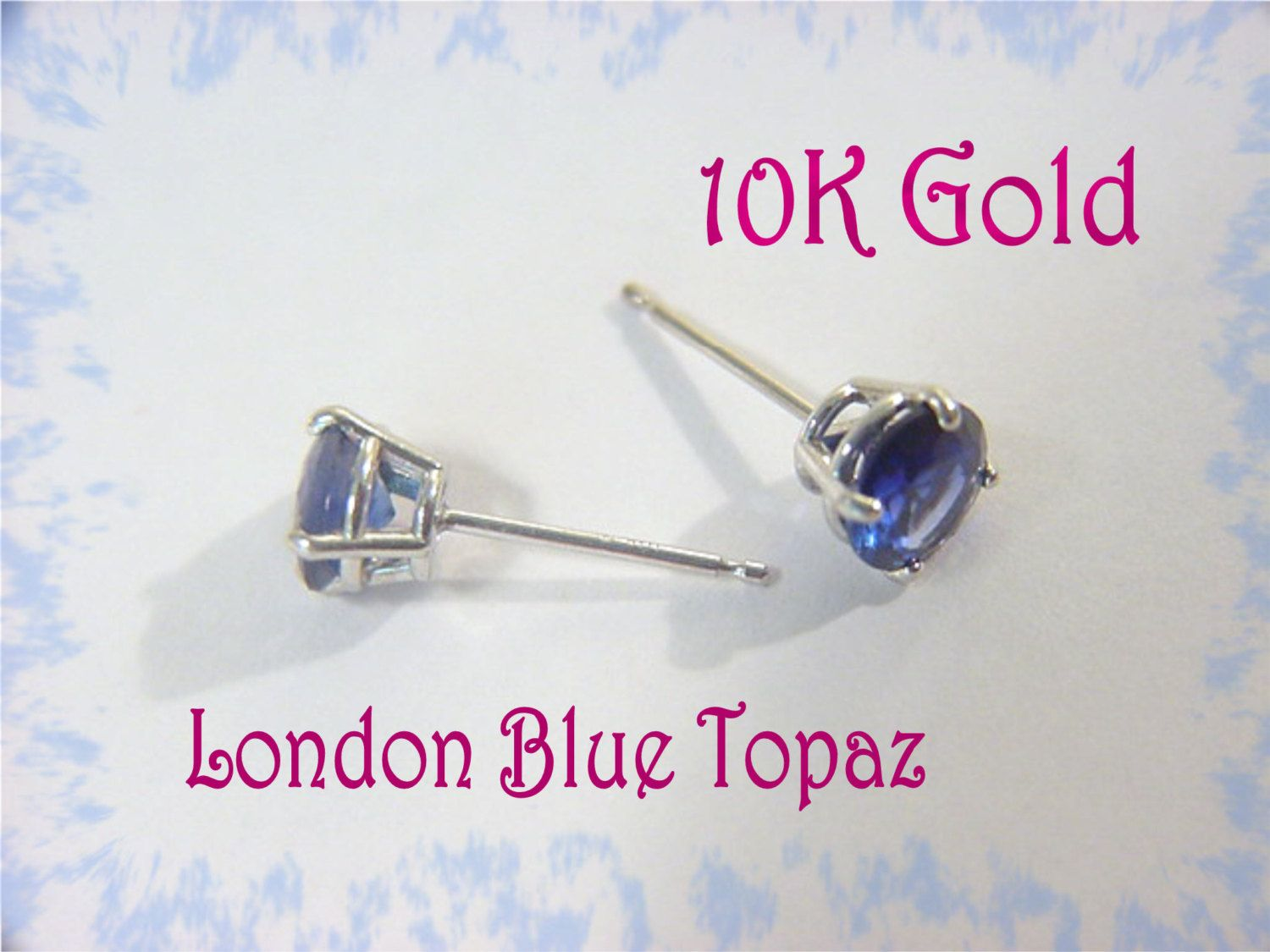 10K White Gold - 1 Ct London Blue Topaz Stud Earrings - Gift Boxed - Wedding Bride Bridesmaids - Perfect Gift Friend Mother -  FREE SHIPPING by FindMeTreasures on Etsy