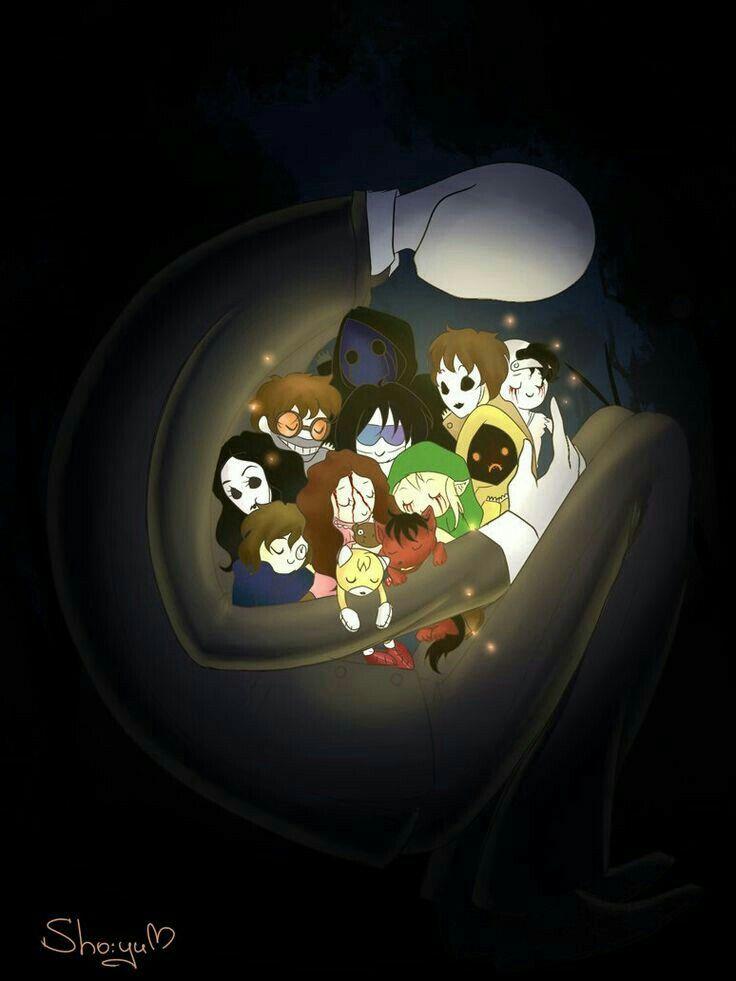 Creepypasta characters, cute, chibi, hugging; Creepypasta