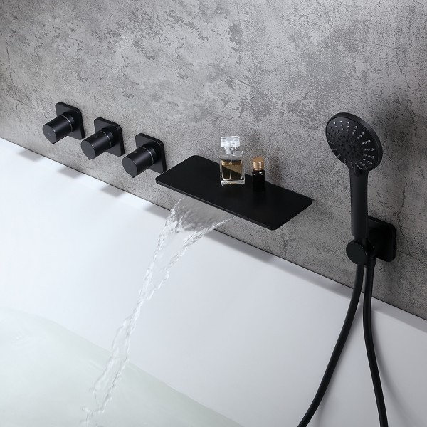 Modern Stylish Wall Mount Waterfall Bathtub Faucet With Hand Shower In Matte Black Solid Brass Bathtub Faucet Modern Tub Faucet Waterfall Bathtub Faucet Bathtub faucet with handheld shower