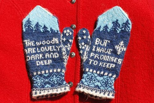 Ravelry: Robert Frost Mittens pattern by The Farm at Morrison Corner Poetry mittens, there's a thought...