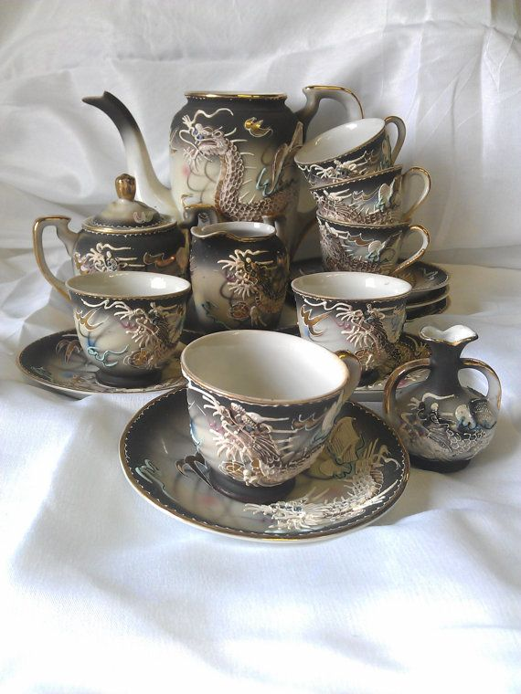 Fairyland China Tea Set With Hand Painted Dragon By Baubblespace 100 00 Time To Wash The