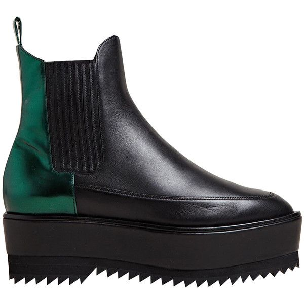 Damir Doma Women's Fresia High Creeper Leather Boots (£1,071) ❤ liked on Polyvore featuring shoes, boots, footwear, grey, metallic boots, chelsea boots, grey chelsea boots, leather platform boots and grey boots