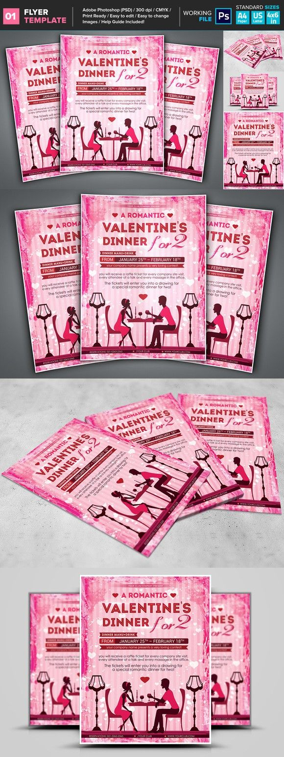 ValentineS Romantic Dinner Flyer Flyer Templates   Flyer
