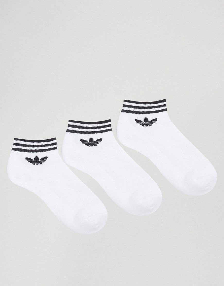 adidas Originals 3 Pack White Ankle Socks With Trefoil Logo - White
