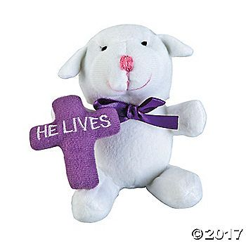 Remember the meaning of easter with this little lamb that holds a he lives plush lamb easter gifts negle Gallery