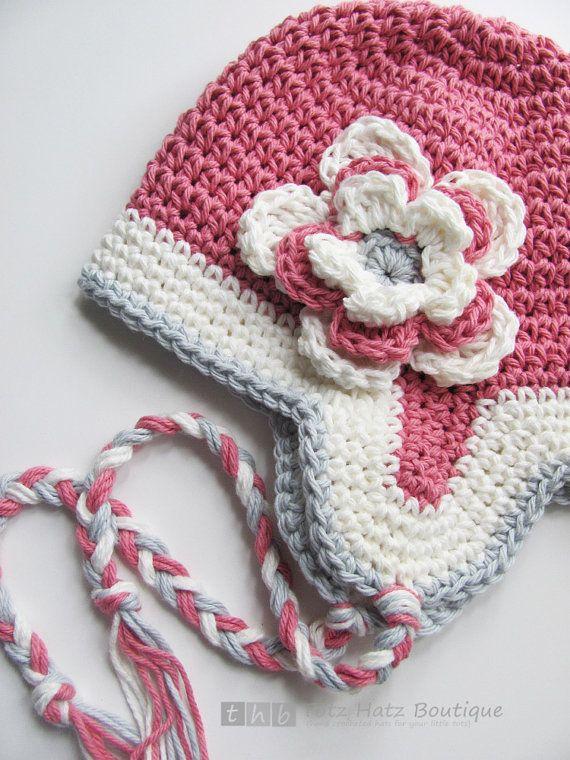 flower earflap hat | crochê | Pinterest | Gorros, Tejido y Gorro tejido