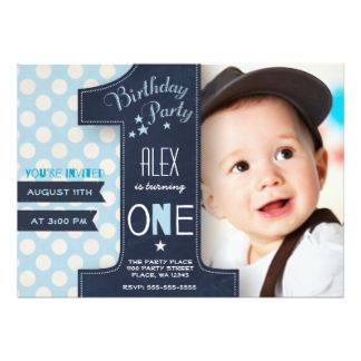 First Birthday Party Invitation Boy Chalkboard Birthday