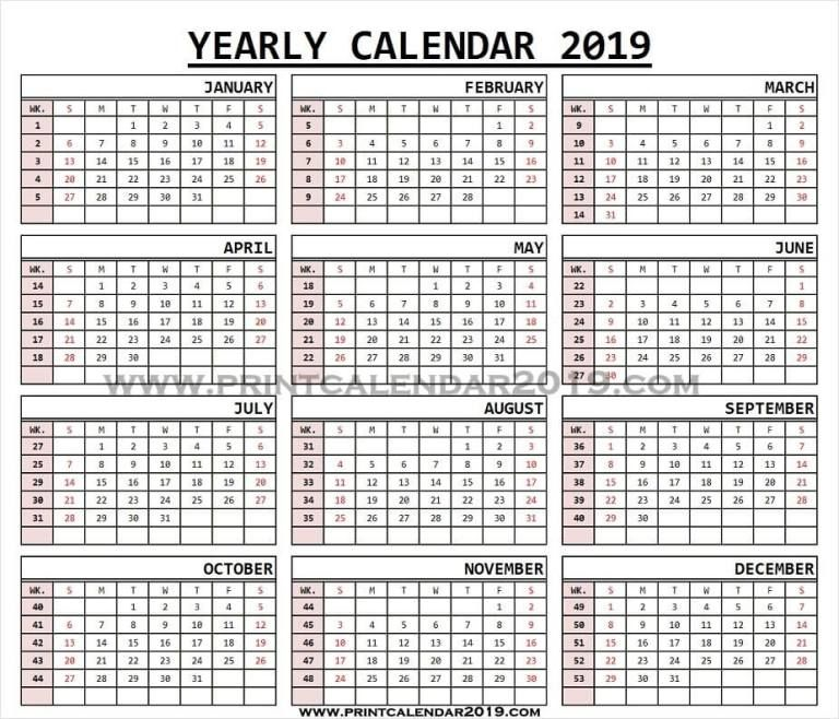 2019 Monthly Calendar With Week Numbers Calendar With Week