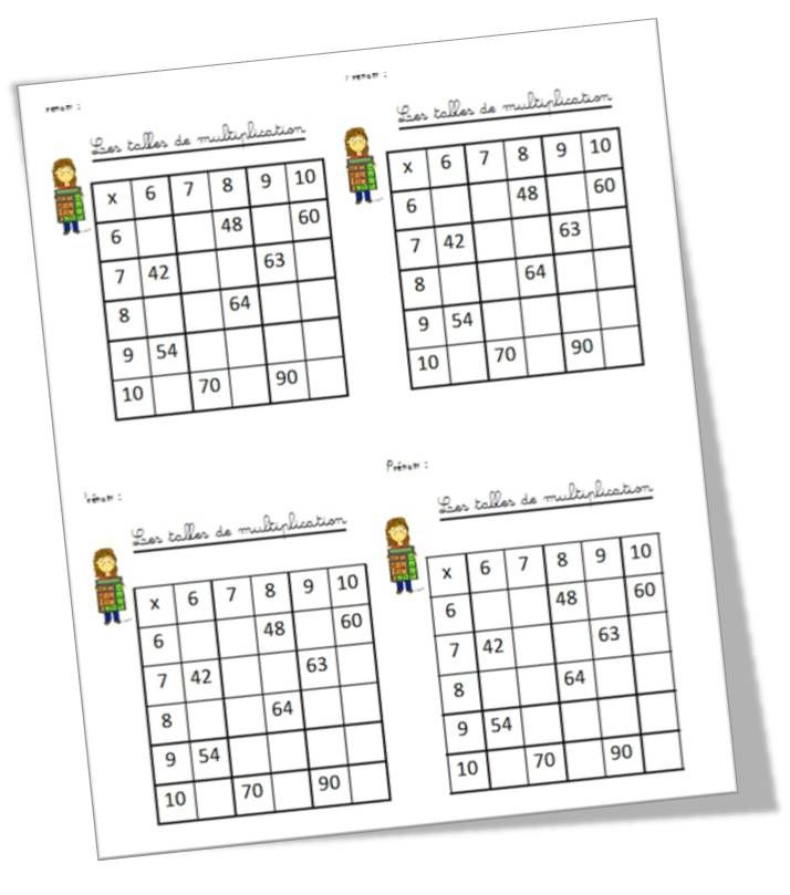 Les tables de multiplication table de multiplication - Apprentissage des tables de multiplication ...