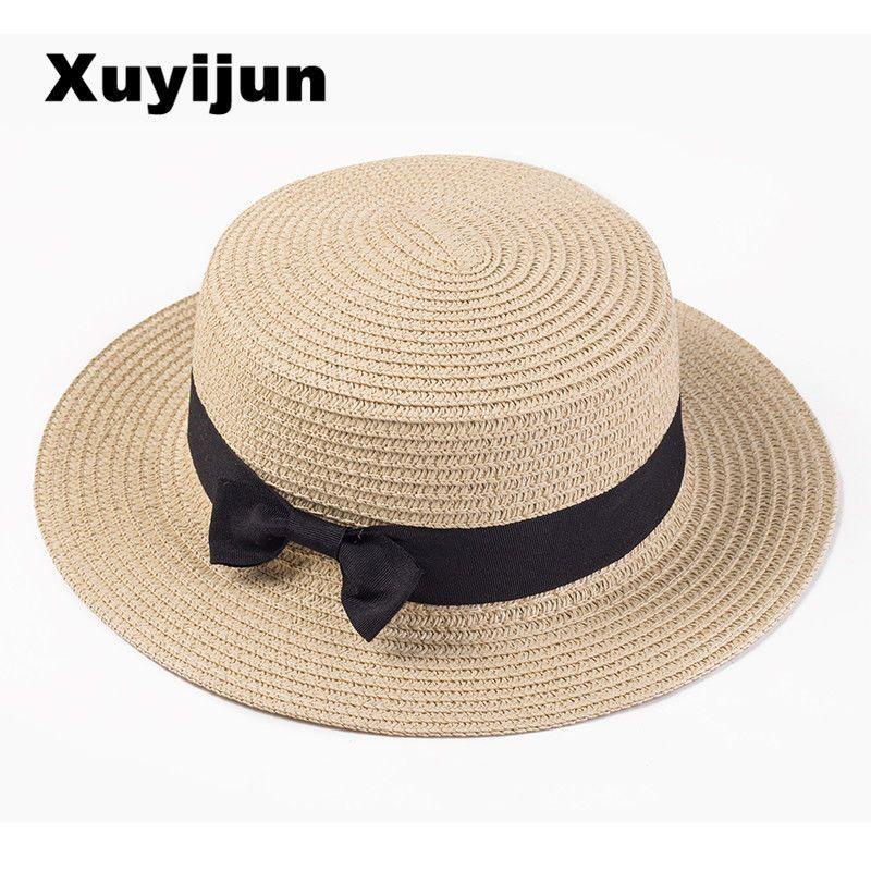 6cecccda215 Xuyijun Lady Boater Sun Caps Ribbon Round Flat Top Straw Beach Hat Panama  Hat Su