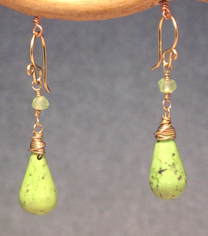 Lime Green Magnesite Earrings, Carnelian and Peridot shown Modglam 144
