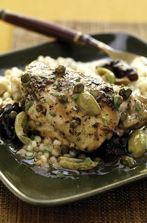 Braised Chicken with Dried Plums, Olives and Capers