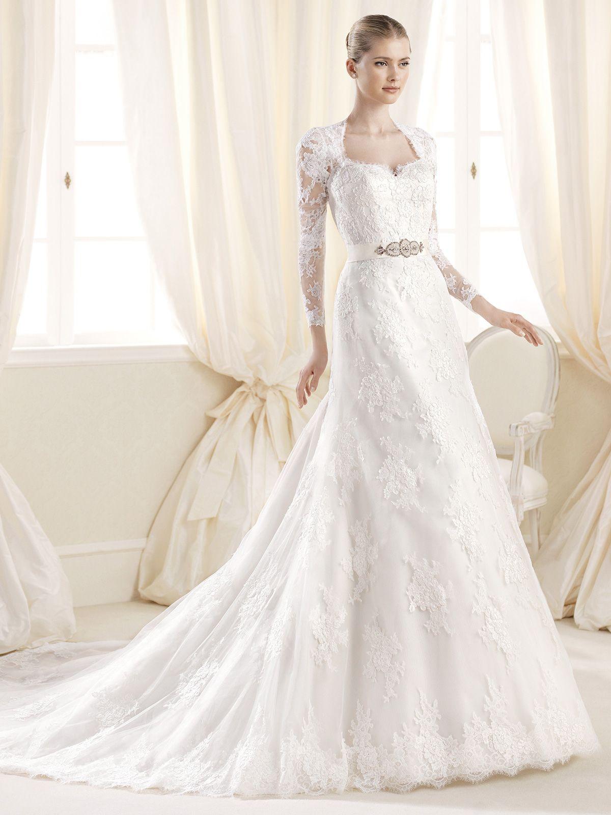 Sheer sleeves a line la sposa wedding dress inma for Wedding dresses in louisiana