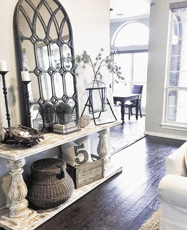 (floor) //mirror: //candlesticks: //demijohn/carboy: Antique Mall // Table:  //basket: //pillow: //vintage Milk Crate: My Mother In Lawu0027s Barn //floors:  ...