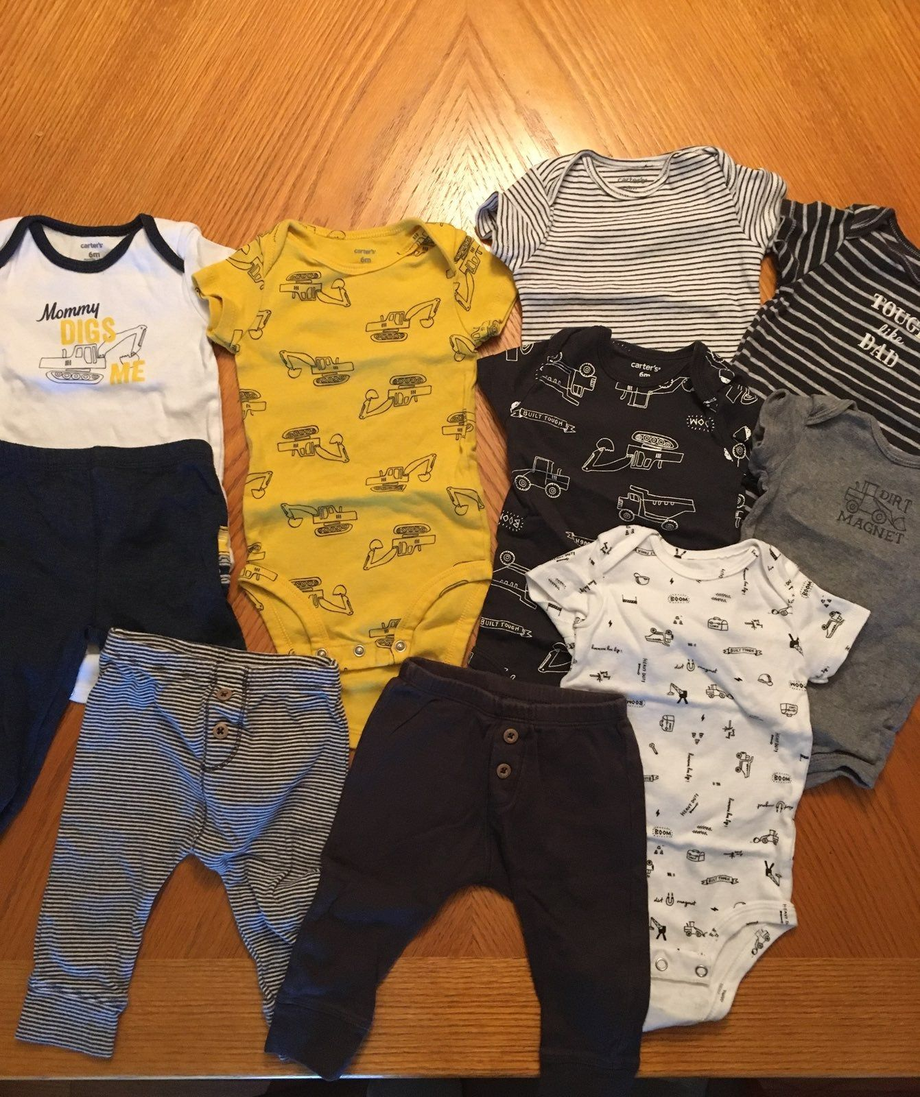 10 Piece Boys Size 6 Month Carter S Brand Clothing Bundle Mostly Construction Themed Clothing Three Pairs Of Pants Boy Outfits Short Sleeve Onesies Baby Boy