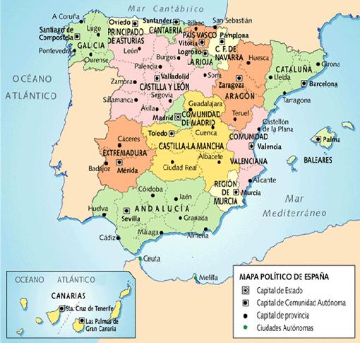 Mapa España Comunidades Autonomas Y Provincias.Como Donde Cuando Y Porque Curiosidades Y Cosas Interesantes