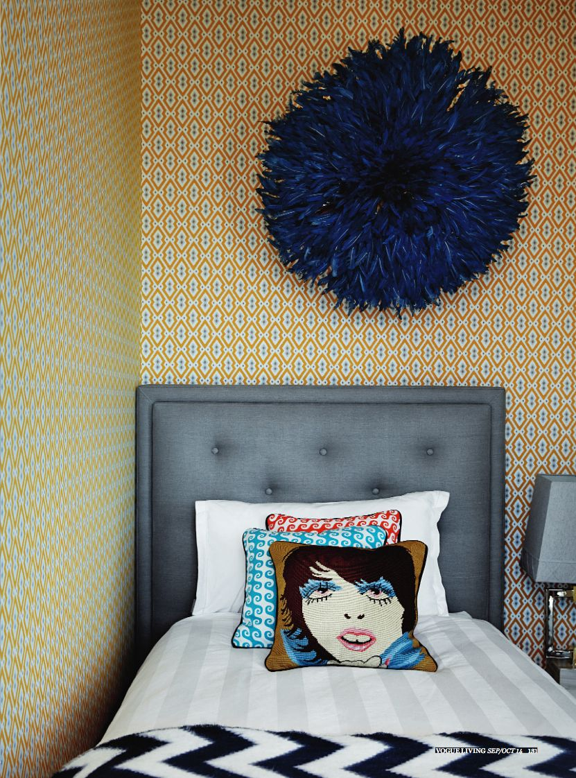 Blue Bamileke Feather Headdress | Juju hat as featured in Vogue Living Australia Sep-Oct 2014 | Interiors by Jonathan Adler