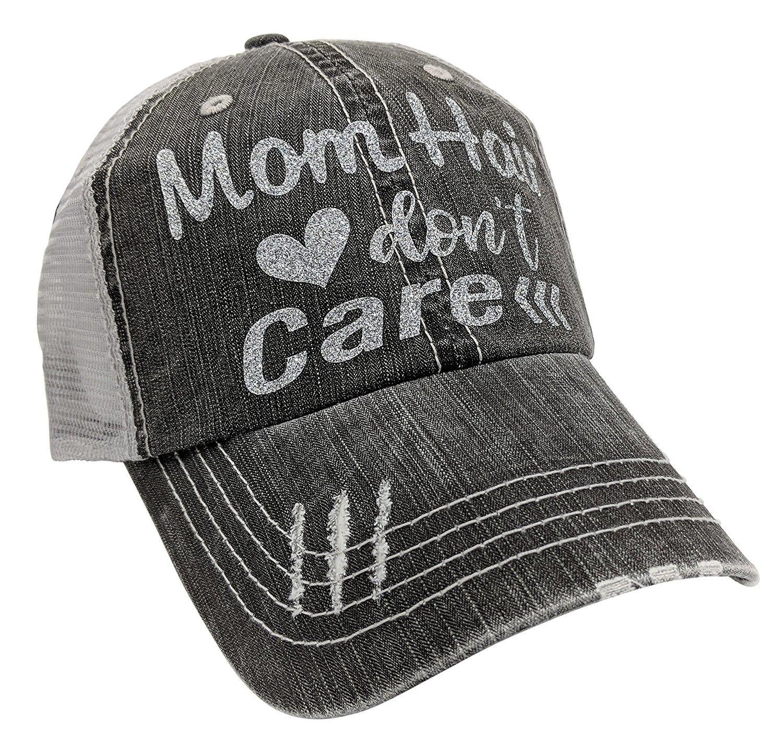 Women's Mom Hair Don't Care Bling Baseball Cap Silver