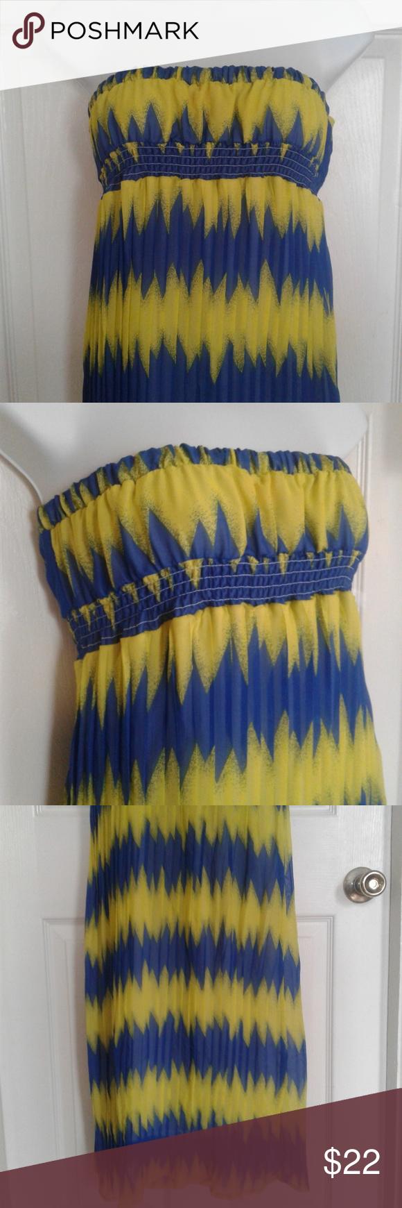 Long Summer Dress Blue And Yellow Dress Long Summer Dresses Summer Dresses [ 1740 x 580 Pixel ]