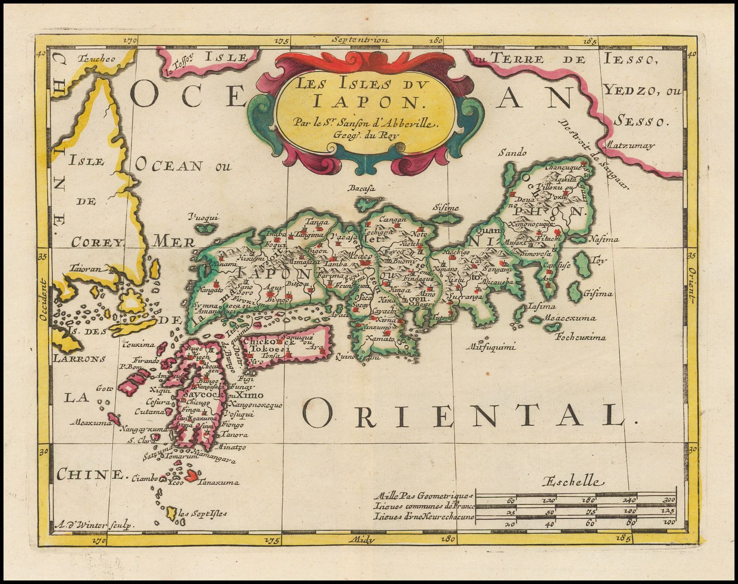 Nicholas sanson 1651 1683 fine old color example of sansons map 1651 1683 fine old color example of sansons map of japan and the island of corey korea the configuration of korea is quite unusual gumiabroncs Image collections
