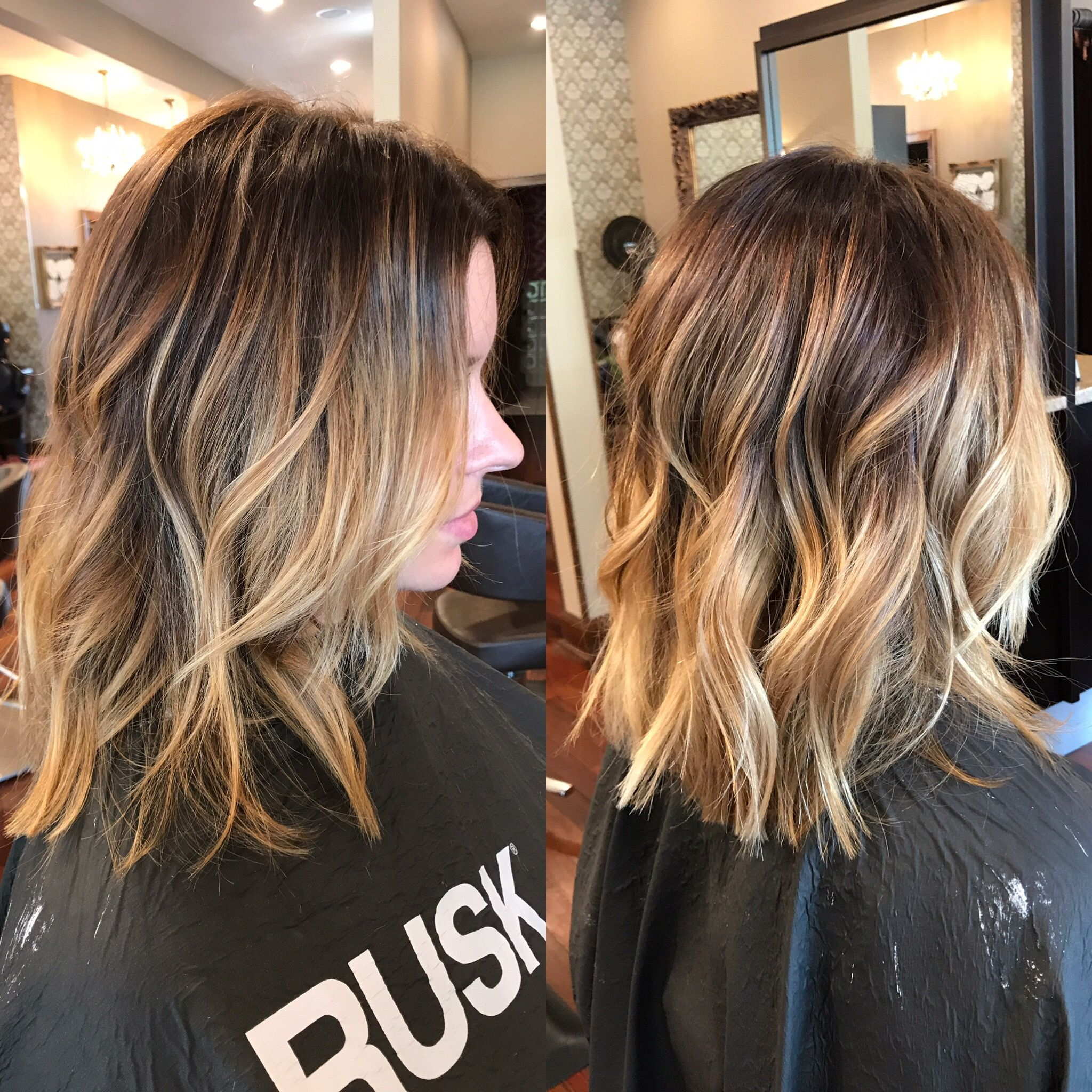 Balayage lob. Hair color highlights balayage Hair by Haley