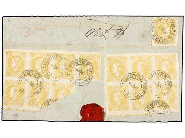 Serbia, Michel 19 (18) SERBIA. Mi.19 (18). (1872 CA.). BACK ONLY. Two singles and two blocks of six 1 pa. yellow, tied by SVILAJNACKE cds. on large piece of letter, probably part of an original 20 para franking. VERY RARE and UNIQUE FRANKING. Ex. Burrus.