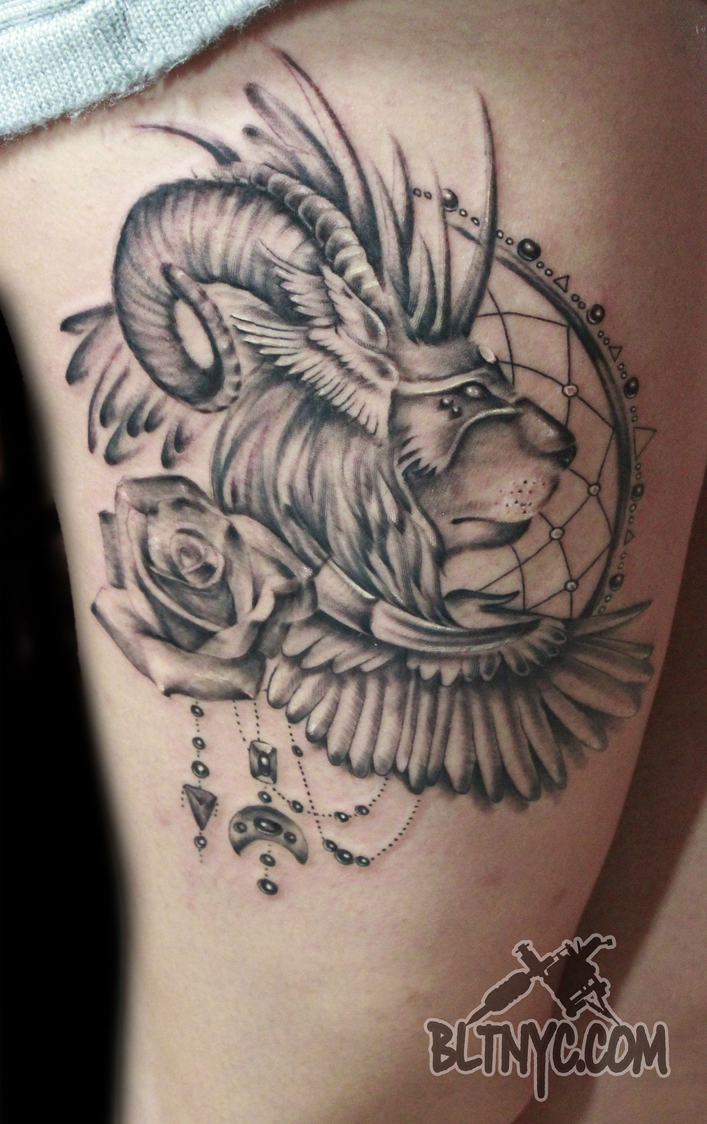 Lion Ram with Roses Dream Catcher Tattoo by Carlos at Body ... - Löwe Tattoo Vorlage