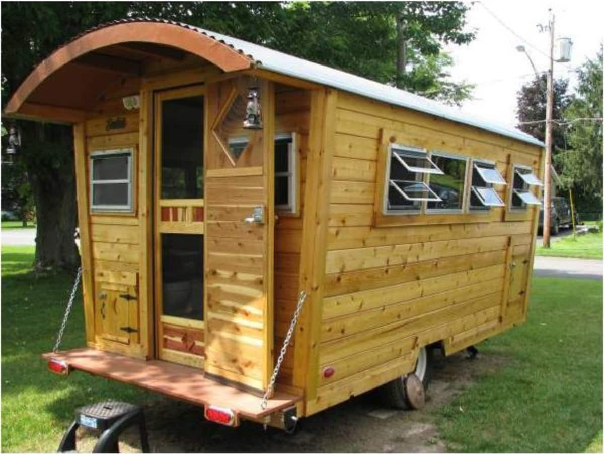 Cedar Cabin On Wheels Tiny House For Sale In Camillus