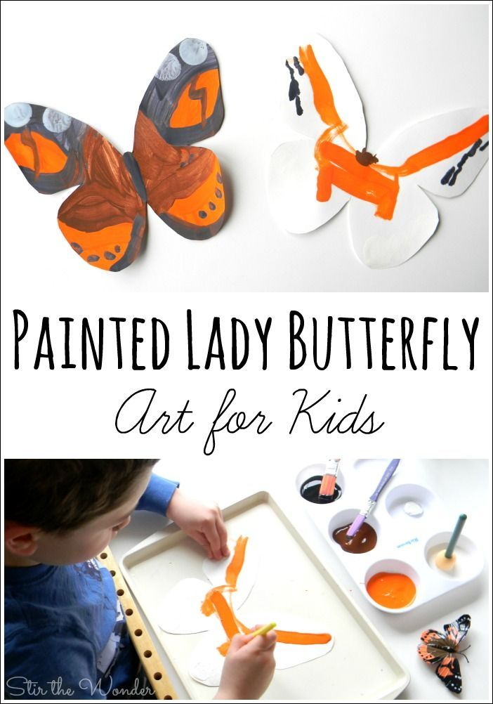 Painted Lady Butterfly Art for Kids is part of Kids Crafts Butterfly Learning - Inspired by raising our own Painted Lady butterflies we created beautiful, openended Painted Lady Butterfly Art for Kids with paint!
