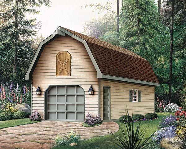 1 Car Garage Plan Number 87865 Garage Plan Garage Building Plans Gambrel Roof