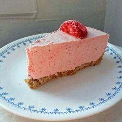 Frozen Strawberry Yogurt Pie--a refreshing, no-bake, summery dessert that tastes like a lighter, more fruity cheesecake.