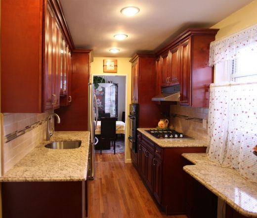 Transitional Galley Style Pale Yellow Kitchen, Red