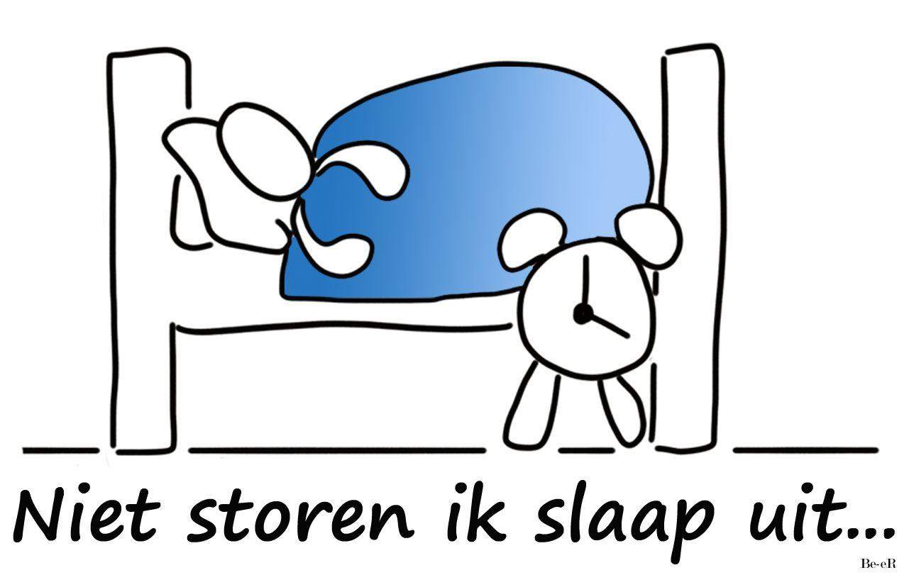 Niet Storen Ik Slaap Uit Spreadshirt Beertekent Slapen Bed