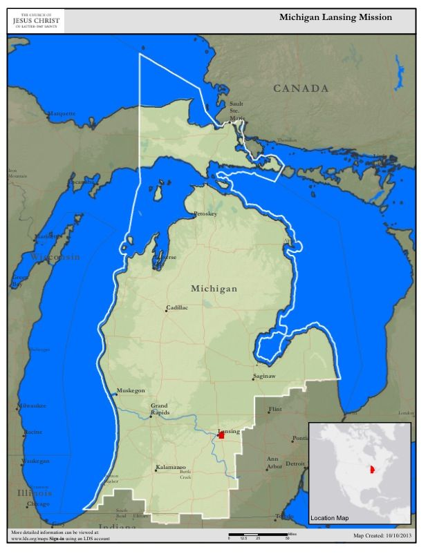 A map of the Michigan Lansing Mission where I will be serving for a