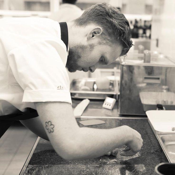 Commis Chef Josh Allen practising in the official Bocuse d'Or practise kitchen @UCB  Image @jodihindsphoto #bocusedor #instagood #food #chefpower #foodart #culinaireinspiratie #culinarycompetition #chefsroll #gourmetartistry #chefsofinstagram #foodart #grateplates #igers #truecooks #foodstarz #bocusedoreurope #foodpics #eatwithyoureyes  #artofplating #hungry #craftmanship  #syrah #lyon #bocusefinal #bocusedoruk #michelinchefs