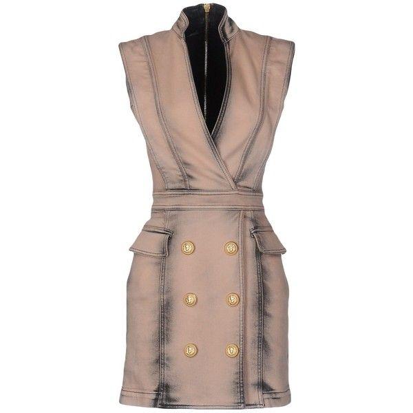 Balmain Short Dress ($1,321) ❤ liked on Polyvore featuring dresses, light brown, brown sleeveless dress, short brown dress, no sleeve dress, short dresses and v neck short dress