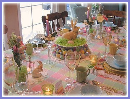 Easter table by dining delight via flickr tablescapes for Easter dinner table decorating ideas