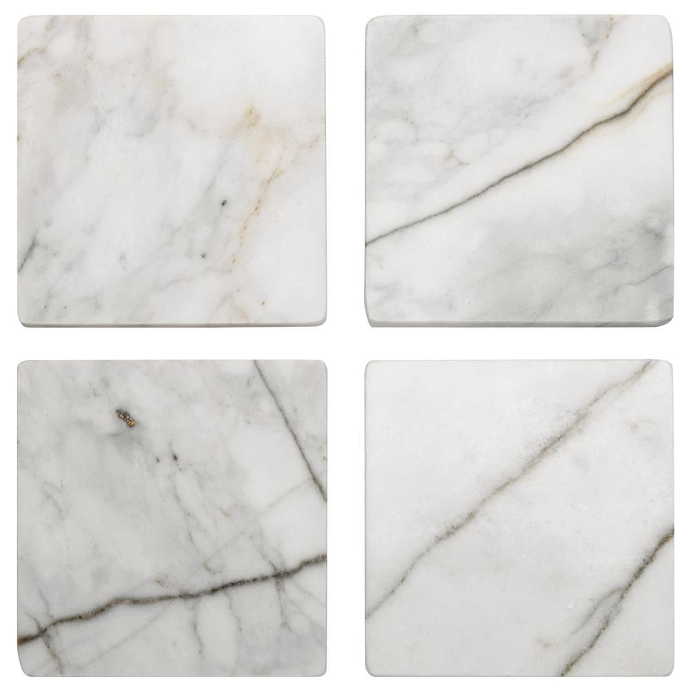 Set Of 4 Square Marble Coasters Marble Coasters Coasters Formal Table Setting