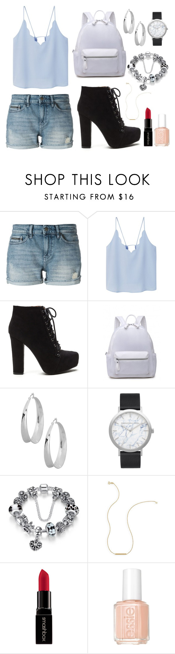 """""""Summee Daft Date"""" by sugarbelle22 ❤ liked on Polyvore featuring Calvin Klein Jeans, MANGO, Robert Lee Morris, Elwood, Wish by Amanda Rose, Smashbox and Essie"""